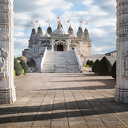 The BAPS Shri Swaminarayan Mandir, also referred to as Neasden Temple. Using 5,000 tonnes of Italian Carrara and Indian Ambaji marble and the finest Bulgarian limestone, it was hand-carved in India before being assembled in London