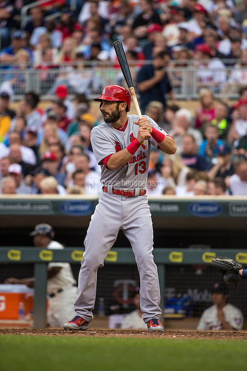 MINNEAPOLIS, MN- JUNE 17: Matt Carpenter #13 of the St. Louis Cardinals bats against the Minnesota Twins on June 17, 2015 at Target Field in Minneapolis, Minnesota. The Twins defeated the Cardinals 3-1. (Photo by Brace Hemmelgarn) *** Local Caption *** Matt Carpenter