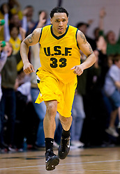 January 30, 2010; San Francisco, CA, USA;  San Francisco Dons forward Dior Lowhorn (33) during the second half against the Gonzaga Bulldogs at the War Memorial Gym.  San Francisco defeated Gonzaga 81-77 in overtime.