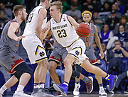 SOUTH BEND, IN - JANUARY 12: Dane Goodwin #23 of the Notre Dame Fighting Irish dribbles the ball during the game against the Boston College Eagles at Purcell Pavilion on January 12, 2019 in South Bend, Indiana. (Photo by Michael Hickey/Getty Images) *** Local Caption *** Dane Goodwin