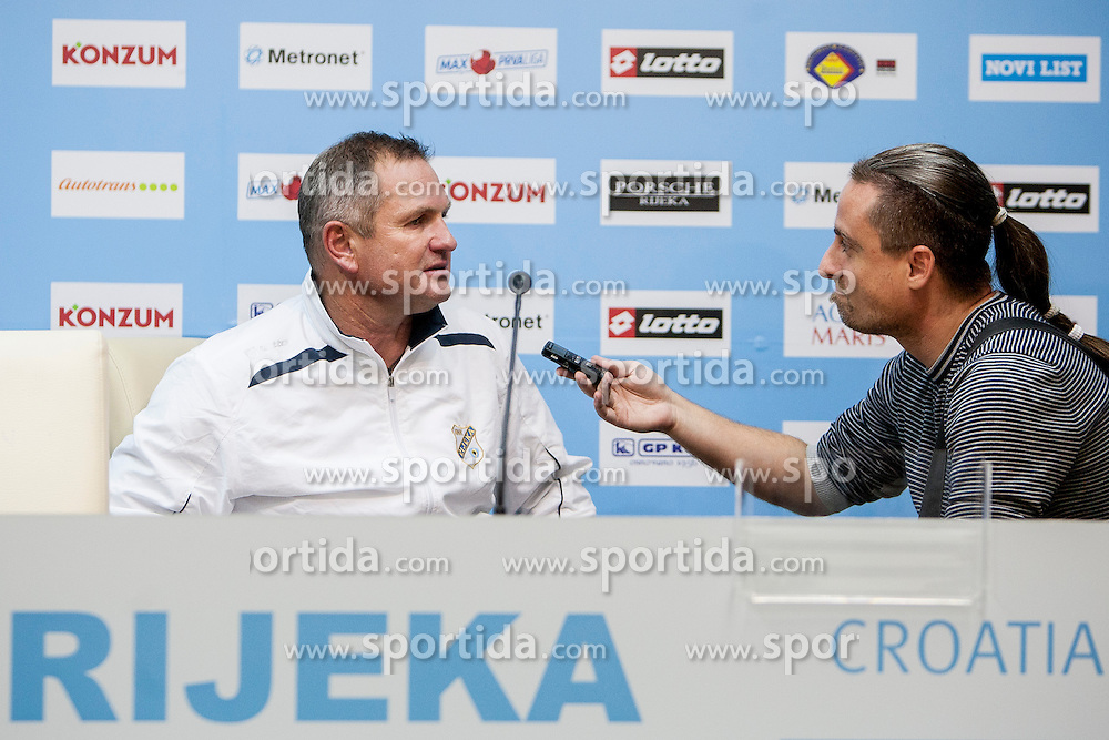 Matjaz Kek, head coach of HNK Rijeka and Rok Plestenjak, journalist of Siol Sportal after football match between HNK Rijeka and HNK Hajduk Split in 11th Round of Prva Hrvaska Nogometna Liga MaxTV 2013/14 on September 28, 2013 in Stadion Kantrida, Rijeka, Croatia. (Photo By Urban Urbanc / Sportida.com)