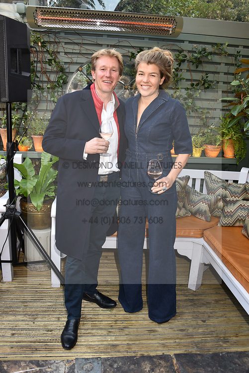 Alistair & Amber Gosling at The Ivy Chelsea Garden's Annual Summer Garden Party, The Ivy Chelsea Garden, 197 King's Road, London England. 9 May 2017.<br /> Photo by Dominic O'Neill/SilverHub 0203 174 1069 sales@silverhubmedia.com