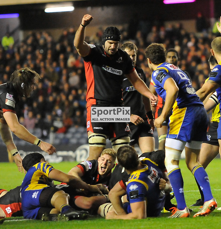 Murray McCallum dives over to score a try during the Edinburgh Rugby v Zebre Guinness PRO12 game, ......(c) COLIN LUNN | SportPix.org.uk