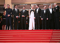 John Goodman, Garrett Hedlund, Ethan Coen, Oscar Isaac, Carey Mulligan, Justin Timberlake, Joel Coen, on the red steps at the The Coen brother's new film 'Inside Llewyn Davis' red carpet gala screening at the Cannes Film Festival Sunday 19th May 2013