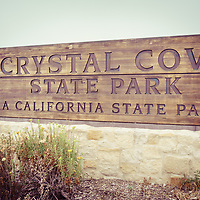 Crystal Cove State Park sign in Laguna Beach California. Crystal Cove State Park is a popular attraction in Orange County with beaches, walking trails and tide pools along the Pacific Ocean.