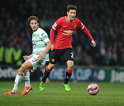 Yeovil Town's Sam Foley battles for the ball with Manchester United's Ander Herrera  - Photo mandatory by-line: Joe meredith/JMP - Mobile: 07966 386802 - 04/01/2015 - SPORT - football - Yeovil - Huish Park - Yeovil Town v Manchester United - FA Cup - Third Round