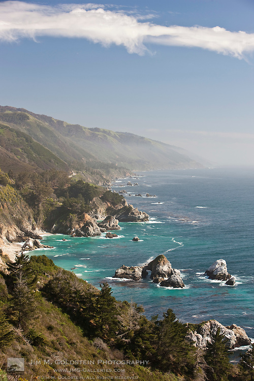 A sunny view of the dramatic California Big Sur coastline