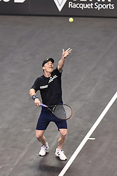 October 4, 2018 - St. Louis, Missouri, U.S - JIM COURIER starts his serve during the Invest Series True Champions Classic on Thursday, October 4, 2018, held at The Chaifetz Arena in St. Louis, MO (Photo credit Richard Ulreich / ZUMA Press) (Credit Image: © Richard Ulreich/ZUMA Wire)