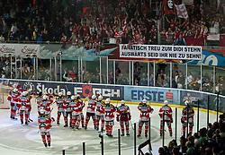 07.04.2011, Volksgarten Arena, Salzburg, AUT, EBEL, FINALE, EC RED BULL SALZBURG vs EC KAC, im Bild die Mannschaft des EC KAC feiert mit den den mitgereisten Fans // during the EBEL Eishockey Final, EC RED BULL SALZBURG vs EC KAC at the Volksgarten Arena, Salzburg, 2011-04-07, EXPA Pictures © 2011, PhotoCredit: EXPA/ J. Feichter