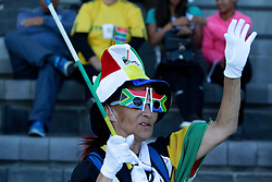 Monday 17th October 2016.<br /> Grand Parade & Greenpoint Athletics Stadium, Cape Town,<br /> Western Cape, South Africa.<br /> <br /> Cape Town Honours South African Olympic And Paralympic Heroes<br /> <br /> A fan dressed in full South African regalia enjoys the event at Greenpoint Athletics Stadium.<br /> <br /> Cape Town honours the South African Olympic and Paralympic heroes during a special celebratory event held in Cape Town, Western Cape, South Africa on Monday 17 October 2016.<br /> <br /> Picture By: Mark Wessels / Real Time Images.