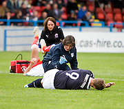 Dundee physio Karen Gibson tends to striker Leigh Griffiths - Stirling Albion v Dundee, IRN BRU Scottish League 1st Division, Forthbank Stadium, Stirling<br /> <br />  - © David Young<br /> ---<br /> email: david@davidyoungphoto.co.uk<br /> http://www.davidyoungphoto.co.uk