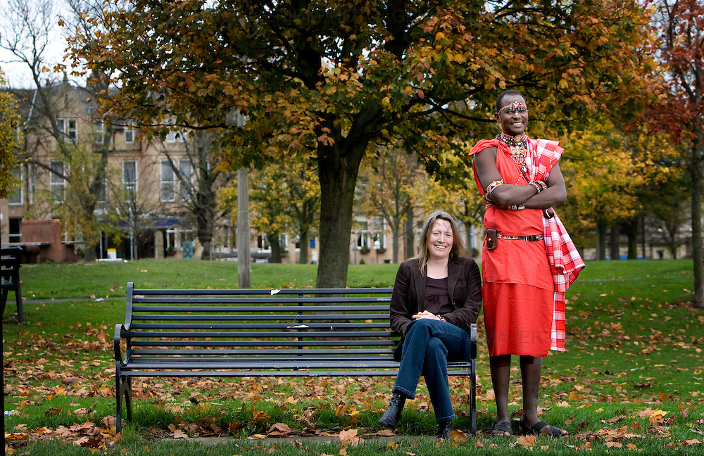 Emma Redfern and her Husband Maasai warrior  Lipan Kitonga are photographed in an Edinburgh park...Emma met Kitonga after visiting Kenya on research work. They have now set up the Dare Foundation in Kenya.. .Picture Michael Hughes/Maverick.....