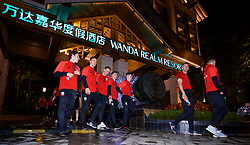 NANNING, CHINA - Monday, March 19, 2018: Wales players go for a short walk around the Wanda Realm Resort in Nanning after they arrive for the 2018 Gree China Cup International Football Championship. (Pic by David Rawcliffe/Propaganda)