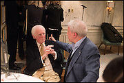 BRIAN SEWELL; JOHN WALSH, Fortnum and Mason and Quartet books host a celebration for the publication of  The White Umbrella by Brian Sewell. Illustrated by Sally Ann Lasson. Fortnum and Mason. Piccadilly. London. 3 March 2015.