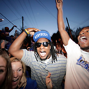 March 31, 2012 - Lexington, Kentucky, USA - University of Kentucky basketball fans celebrate their team's victory over the University of Louisville in Lexington, Ky., on March 31, 2012. The win for Kentucky advances them to the championship game of the NCAA tournament in New Orleans. Fans took to the streets and in burned couches, turned over a car and ending with a handful of arrests. (Credit image: © David Stephenson/ZUMA Press)