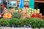 Israel, West Jerusalem Machane Yehuda market fresh vegetable stall