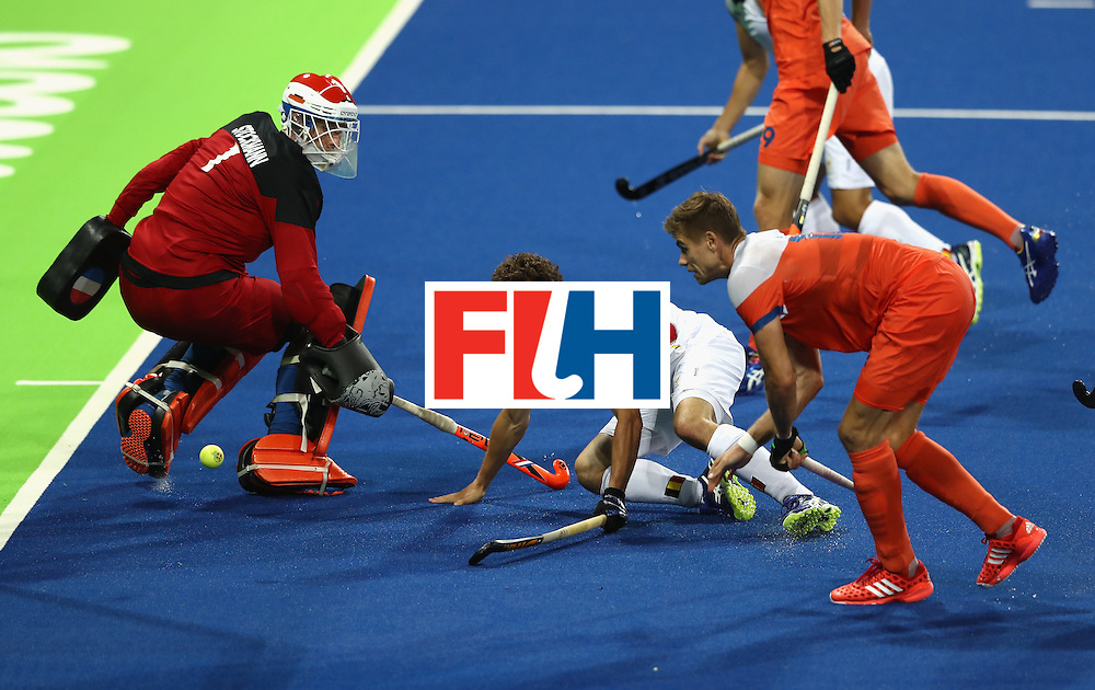RIO DE JANEIRO, BRAZIL - AUGUST 16:  Florent van Aubel of Belgium scores their third goal during the Men's semi final hockey match between Belgium and the Netherlands on Day 11 of the Rio 2016 Olympic Games held at the Olympic Hockey Centre on August 16, 2016 in Rio de Janeiro, Brazil.  (Photo by David Rogers/Getty Images)