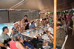 Hawaii: Molokai, Friday night kupuna night entertainment by locals at the Hotel Molokai, with singers, ukulele strummers, hula dancers, and good food and drink. .Photo himolo174-71778..Photo copyright Lee Foster, www.fostertravel.com, lee@fostertravel.com, 510-549-2202