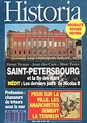 Front cover of issue no. 557 of Historia, a monthly history magazine, published May 1993, featuring an article on St Petersburg and the end of the tsars, the last days of tsar Nicholas II. Historia was created by Jules Tallandier and published 1909-37 and again from 1945. Picture by Manuel Cohen