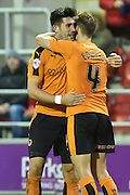 Wolverhampton Wanderers defender Danny Batth celebrates with Wolverhampton Wanderers midfielder Dave Edwards going 2-1 up during the Sky Bet Championship match between Rotherham United and Wolverhampton Wanderers at the New York Stadium, Rotherham, England on 5 December 2015. Photo by Ian Lyall.
