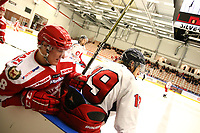 2018-11-21 | Ljungby, Sweden: Troja-Ljungby (8) Simon Wester and Hanhals Jacob Steen (19) during the game between Troja Ljungby and Hanhals Kings at Ljungby Arena ( Photo by: Fredrik Sten | Swe Press Photo )<br /> <br /> Keywords: Icehockey, Ljungby, HockeyEttan, Troja Ljungby, Hanhals Kings, Ljungby Arena, Icehockey, Ljungby, HockeyEttan, Troja Ljungby, Hanhals Kings, Ljungby Arena