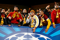 Galatasaray fans  cheer on their side during the warm up - Photo mandatory by-line: Rogan Thomson/JMP - 18/03/2014 - SPORT - FOOTBALL - Stamford Bridge, London - Chelsea v Galatasaray - UEFA Champions League Round of 16 Second leg.