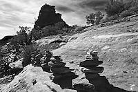Black and white photograph of vortex on rocky ground near Sedona Arizona