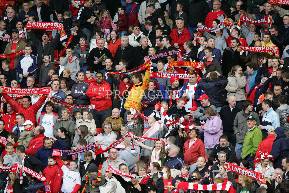 LIVERPOOL, ENGLAND - SUNDAY, APRIL 9th, 2006: Liverpool's fans on the Spion Kop during the FA Youth Cup Final 1st Leg match against Manchester City at Anfield. (Pic by Dan Istitene/Propaganda)