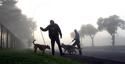 South Africa - Cape Town - 010520.  Joggers and dog owners took to the streets of Parow West in the mist on the first day of the Level Four lockdown restrictions which allow walking, excercise or jogging between 6am and 9am. Picture: Ian Landsberg/African News Agency (ANA).