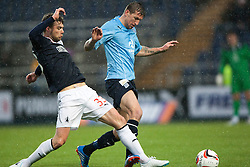 Falkirk's Rory Loy and Dundee's Iain Davidson.<br /> Falkirk 2 v 0 Dundee, Scottish Championship game at The Falkirk Stadium.<br /> &copy; Michael Schofield.