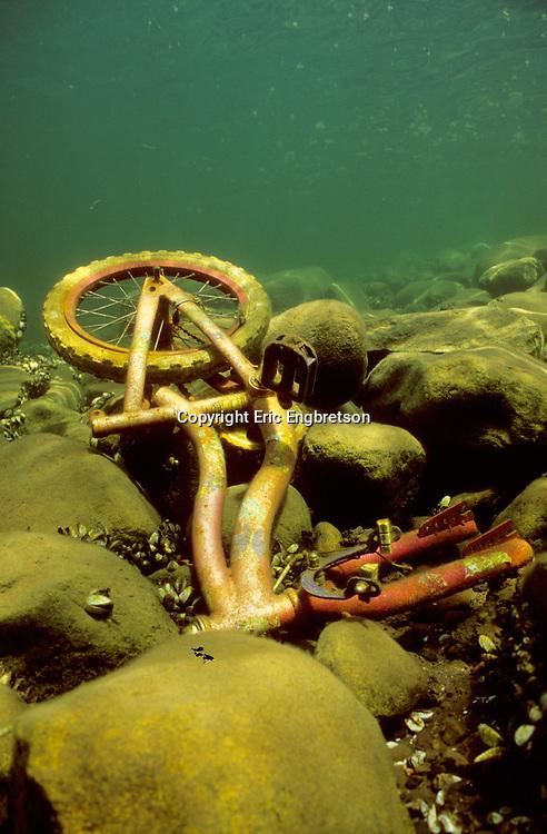 Underwater Scene-Bicycle on lake bottom<br /> <br /> ENGBRETSON UNDERWATER PHOTO