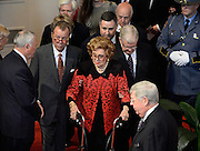 Former Georgia First Lady Betty Sanders, center, attends a memorial service for her husband, former Gov. Carl Sanders, at Second Ponce de Leon Baptist Church on Saturday, Nov. 22, 2014, in Atlanta. Six living Georgia governors attending the service included current Gov. Nathan Deal and former governors Jimmy Carter, Sonny Perdue, Roy Barnes, Zell Miller, and Joe Frank Harris. Photo by David Tulis