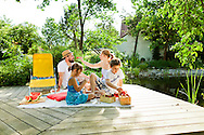 Family With Two Children, Pond, Picnic, Enjoyment,