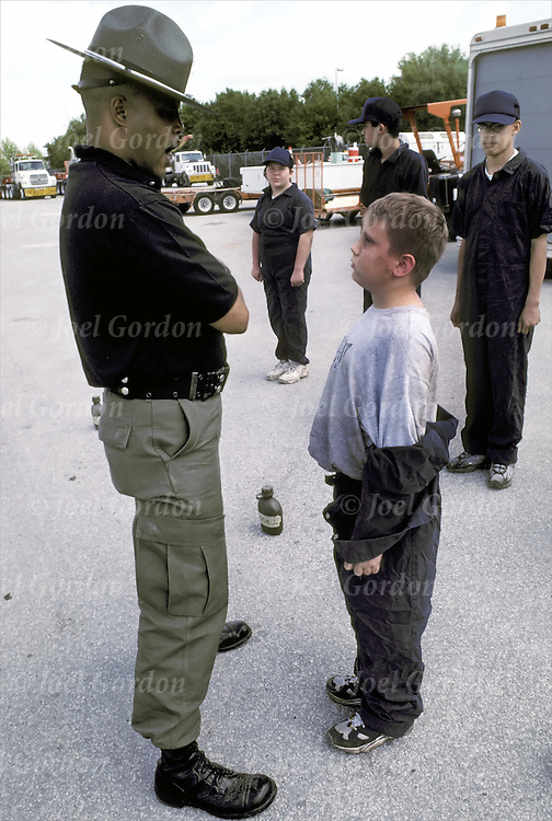 "Saturday Boot Camp for first-time offender, Orange County Sheriff's Office, FL ""Operation  Transformation"" early intervention program - Drill Instructor w/recruits - ages 10 to 15 - model released"