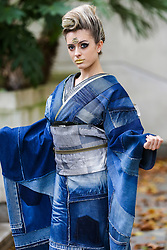 """© Licensed to London News Pictures. 29/09/2019. London, UK. A performer wearing Japanese outfits during the annual Japan Matsuri festival of Japanese music, food and culture in Trafalgar Square. The concept of the theme this year is """"Future generations"""".<br /> <br /> Photo credit: Dinendra Haria/LNP"""