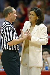 12 March 2005<br /> <br /> Coach Robin Pingeton receives an explanation from an official.<br /> <br /> 8th seed and Tournament Host, Illinois State University Redbirds, played spoiler and best the #1, #2 & #4 ranked teams to win the Missouri Valley Confernce Hoops in the Heartland Tournament.  In the final game today, the Redbirds bested the #2 seeded Indiana State University Sycamores by 2 points with a .8 second to go buzzer beater jump shot from the middle of the lane.  The Redbirds get an automatic birth to the NCAA Tournament. The Redbirds last played in the NCAA Tournament in 1989.  Hoops in the Heartland was held at Redbird Arena, Illinois State University, Normal IL