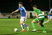 Connor Jennings (Tranmere Rovers) runs with the ball during the Vanarama National League match between North Ferriby United and Tranmere Rovers at Eon Visual Media Stadium, North Ferriby, United Kingdom on 21 March 2017. Photo by Mark P Doherty.