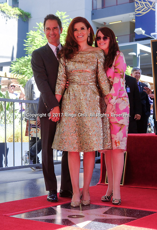 (L-R) Actors Eric McCormack, actresses Debra Messing and Megan Mullally at a ceremony honoring Messing with a star on the Hollywood Walk of Fame on Friday, Oct. 5, 2017, in Los Angeles.(Photo by Ringo Chiu)<br /> <br /> Usage Notes: This content is intended for editorial use only. For other uses, additional clearances may be required.