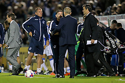 Bristol Rovers manager Darrell Clarke thanks Cardiff City manager Paul Trollope afte Bristol Rovers win 1-0 in extra time to progress to a second round match against Chelsea at Stamfrod Bridge - Rogan Thomson/JMP - 11/08/2017 - FOOTBALL - Memorial Stadium - Bristol, England - Bristol Rovers v Cardiff City - EFL Cup First Round.