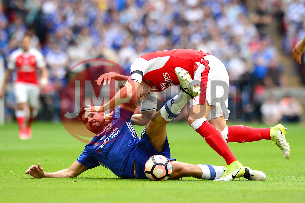 Diego Costa of Chelsea jostles for the ball with Rob Holding of Arsenal - Mandatory by-line: Dougie Allward/JMP - 27/05/2017 - FOOTBALL - Wembley Stadium - London, England - Arsenal v Chelsea - Emirates FA Cup Final