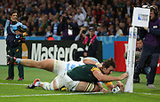 South Africa's Eben Etzebeth scoring a try to take the score SA 21 A 3 during the Rugby World Cup Bronze Final match between South Africa and Argentina at the Queen Elizabeth II Olympic Park, London, United Kingdom on 30 October 2015. Photo by Matthew Redman.