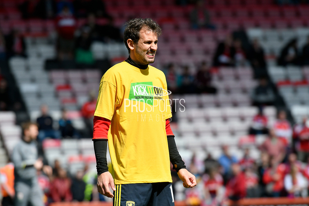 Christian Stuani (18) of Middlesborough warming up before the Premier League match between Bournemouth and Middlesbrough at the Vitality Stadium, Bournemouth, England on 22 April 2017. Photo by Graham Hunt.