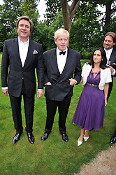 Left to right, SIMON LE BON, BORIS JOHNSON and his wife MARINA at the Raisa Gorbachev Foundation fourth annual fundraising gala dinner held at Stud House, Hampton Court, Surrey on 6th June 2009.
