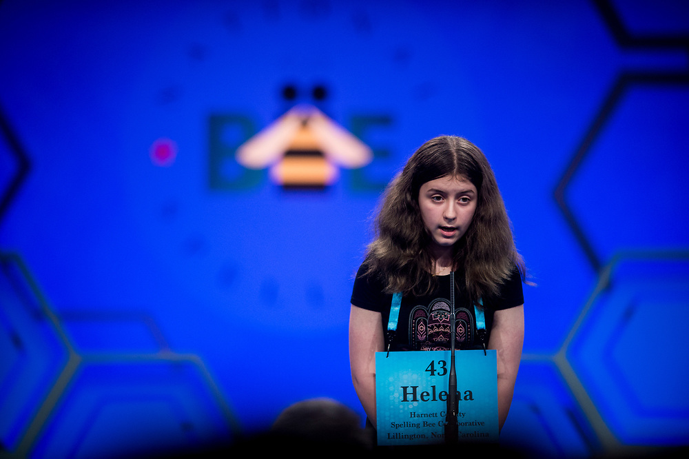 Helena Thompson, 12, from Sanford, N.C., participates in the finals of the 2017 Scripps National Spelling Bee on Thursday, June 1, 2017 at the Gaylord National Resort and Convention Center at National Harbor in Oxon Hill, Md.      Photo by Pete Marovich/UPI
