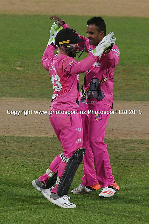 Northern Knights Tim Seifert and Tarun Nethula celebrate during the Burger King Super Smash T20 cricket match between the Central Stags and the Northern Knights, McLean Park, Napier, Friday, January 25, 2019. Copyright photo: Kerry Marshall / www.photosport.nz