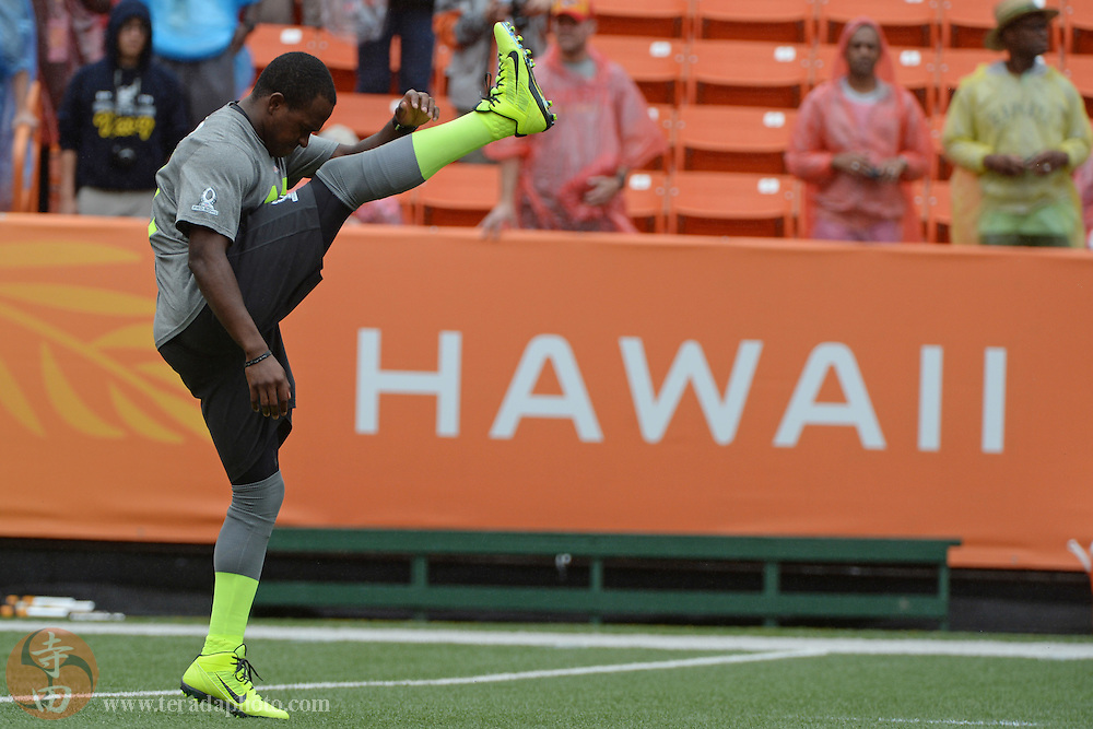 January 26, 2014; Honolulu, HI, USA; Team Sanders special teams Matthew Slater of the New England Patriots (18) stretches before the 2014 Pro Bowl against Team Rice at Aloha Stadium.