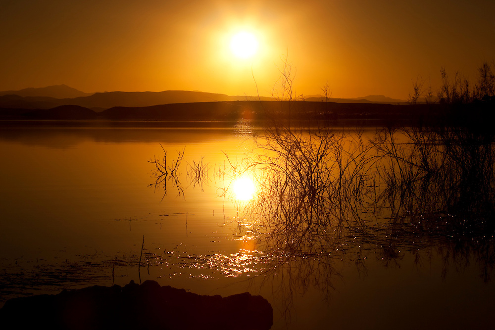 Sunset at El-Mansour Eddabbi dam, Ouarzazate, Morocco.