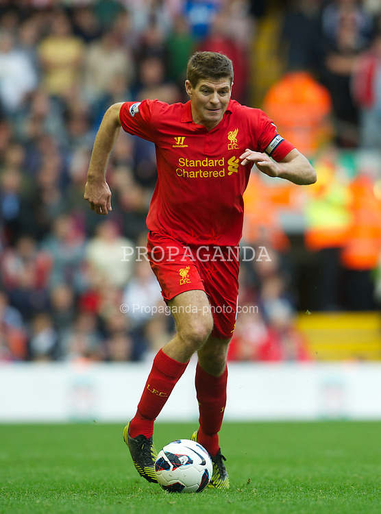 LIVERPOOL, ENGLAND - Sunday, October 7, 2012: Liverpool's captain Steven Gerrard in action against Stoke City during the Premiership match at Anfield. (Pic by David Rawcliffe/Propaganda)