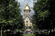 SOUTH BEND, IN - SEPTEMBER 19: General view of the Main Administration Building and Golden Dome prior to the game between the Georgia Tech Yellow Jackets and Notre Dame Fighting Irish at Notre Dame Stadium on September 19, 2015 in South Bend, Indiana. Notre Dame defeated Georgia Tech 30-22. (Photo by Joe Robbins)