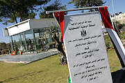 Corner stone of the mausoleum that will enclose Yasser Arafatís grave and museum, unveiled by the current Palestinian President Mahmoud Abbas during the celebrations marking the first anniversary of former Palestinian leader Yasser Arafat at the Palestinian Authority (PA) headquarter, last residence and burial site of Yasser Arafat, in the Palestinian capital Ramallah, on Friday, Nov. 11, 2005.  **ITALY OUT**